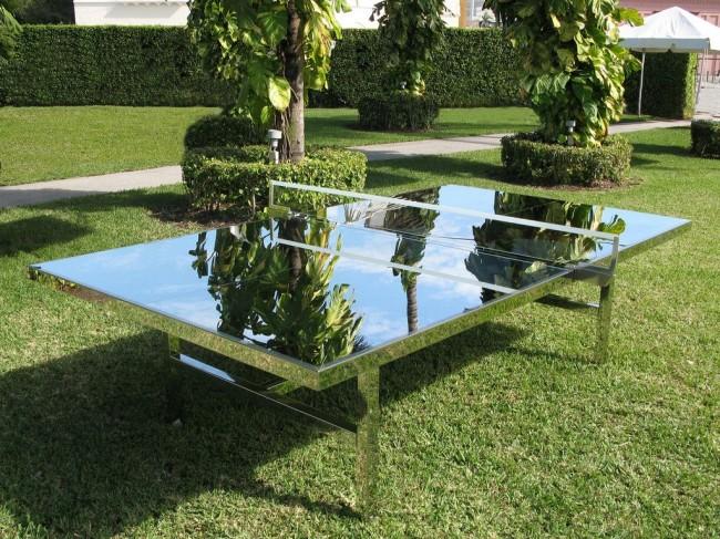 Стеклянный теннисный стол с зеркальной поверхностью